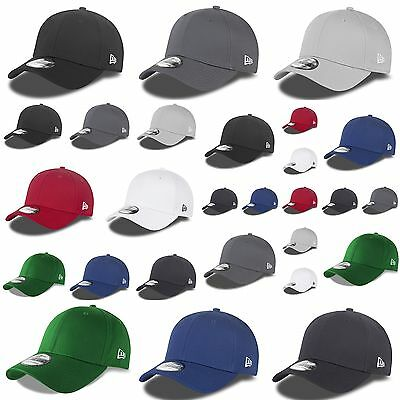 New Era 39THIRTY Basic Baseball Stretch Fit Cap Hat Black White Blue Red Green