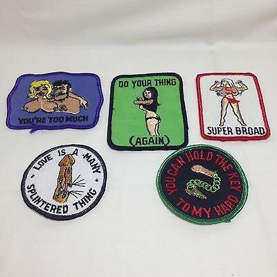 Vtg X Rated Adult Sew On Patches (Set of 5) Biker 70s Embroidered Naughty XXX