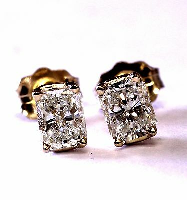 NEW 14k yellow gold radiant princess diamond VS H .40ct stud earrings SOLITAIRE