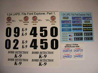 LAPD 1:24 Water Slide Decals fits Ford Explorer Utility SUV Updated