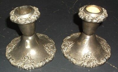 Antique Vintage Silver Plate? Unmarked Candle Holders