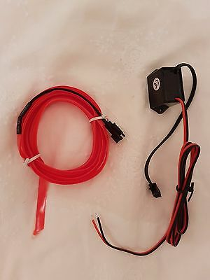 Red 2M Car Felexible LED Neon Light Glow EL Strip Tube Wire Rope + 12V Driver