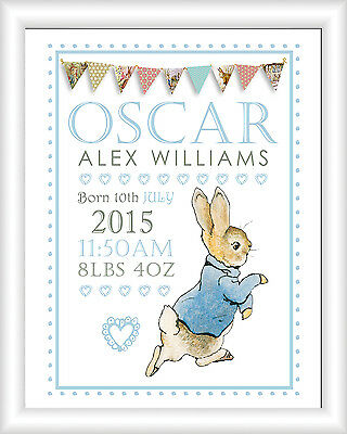 A4 Peter Rabbit Personalised Name Picture Print Christening Gift Nursery Baby