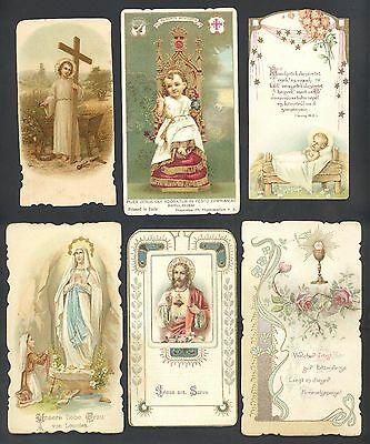 Lot Of 6  Antique Lithograph - Catholic Holy Card - 1909-1935