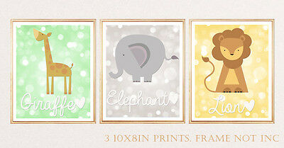 3 Jungle Animal Wall Art Print Pictures Baby Kids Nursery Lion Elephant Giraffe