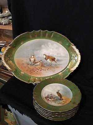 Rare 7pc Artist Signed Haviland Limoges Game Bird Set W/Platter