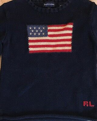 Ralph Lauren Vintage Vtg Flag Sweater Kids Sz L