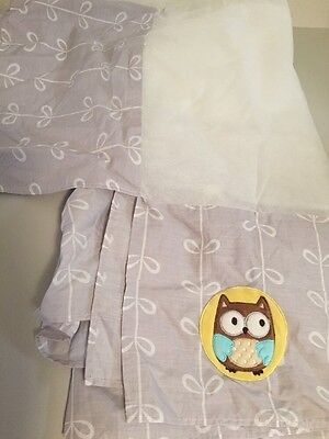 Carters Child of Mine Treetop Friends Crib Skirt Dust Ruffle Gray Owl VGUC