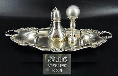 STERLING SILVER GORHAM PEN TRAY w MNGRM SEALING WAX LAMP & SEAL 1897