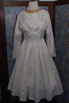 Beautiful Vintage Satin Damask 1950's Short Length Wedding/Party Dress 8/10