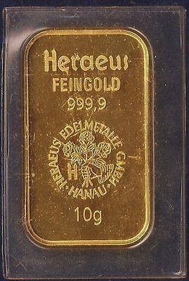 Heraeus * 10 Gram Gold Bar Pure 24kt. 999 Gold. Not a copy, or plated etc.