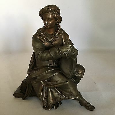 Antique Bronze Christopher Columbus Figure Sitting with Books Highly Detailed