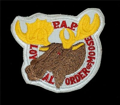 """Original Vtg. P.A.P. Loyal Order of Moose Patch - 3 1/8"""" x 3 1/8"""" Embroidered"""