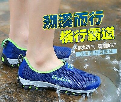 FASHION Fishing Wet Wading Water Shoes Water Remove Breathable Size 7-9 Blue
