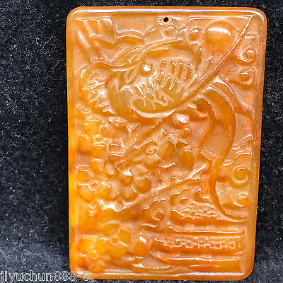 Old Chinese Neolithic xiuyu jade Hand carved Amulet Pendant   0001365