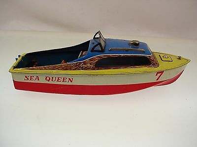 Vintage Japan Battery Operated Tin Toy Speed Boat Sea Queen Cruis Along