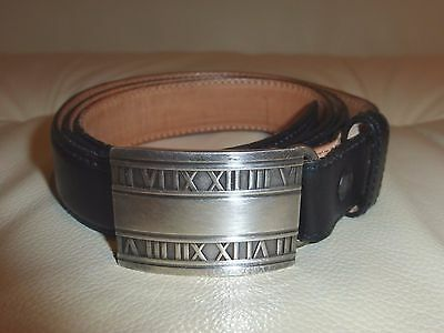 Genuine Tiffany & Co Leather Belt with Sterling Silver Atlas Buckle Size 32