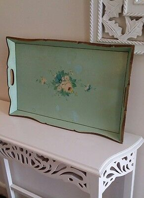 Vintage Handpainted Wooden Serving Tray