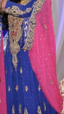 Gorgeous Pakistani Bridal Dress (Royal Blue, Pink & Gold)