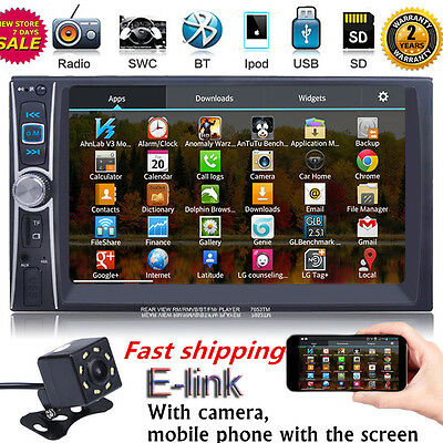"""7"""" 2 DIN IN Dash Car Stereo Video AUX MP5 Player E-Link for Android W/ Camera et"""