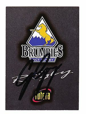 Rugby Union Signed 1996 Futera Brumbies Logo Card George Gregan