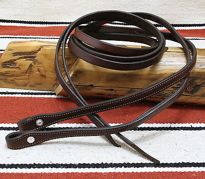 Dark Oil Bridle Leather 7-ft Split Reins Clean & Supple Silver Plated Conchos