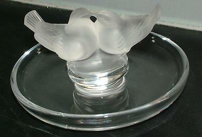 "Lalique 2 Colombes Cendrier Ashtray / ""Love Birds Doves"" Ring Pin Trinket Dish"