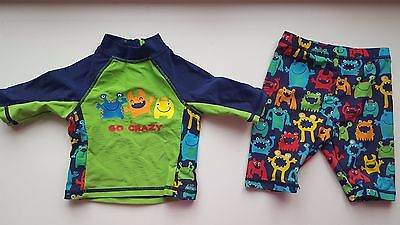 MOTHERCARE baby boy 6-9 months blue green monster 2 piece swimming costume cover