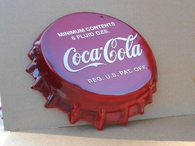 New Giant 16'' X 18'' Coca Cola Soda Cap Tin Metal Sign Embossed 3D