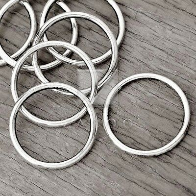 30pcs Tibetan Silver Charm Pendant Links Connector DIY Jewellery Ring 24x24x2mm