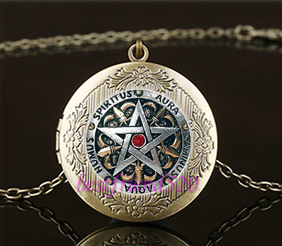 BRONZE PENTAGRAM LOCKET WICCA MAGIC PAGAN SYMBOL GOTH glass necklace pendant