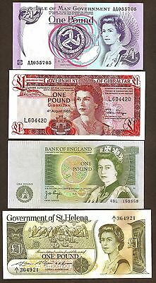 Four Piece set of British £1 Banknotes,St Helena, Gibraltar etc., perfect, UNC