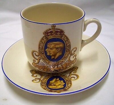 Norville Ware Cartright Edwads Ltd Coronation Cup Saucer Duo King George Vi Exc