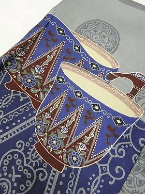 Vintage Men's Japanese Blue & Grey Silk 'Tea Utensils' Nagajuban/Kimono/Robe MED