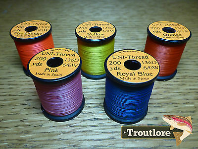 5 x SPOOLS 6/0 UNI THREAD COLOUR SELECTION 3  NEW FLY TYING SUPPLIES & MATERIALS