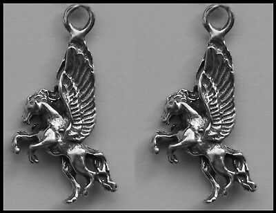 PEWTER CHARM #298 x 2 PEGASUS 18mm x 30mm FLYING HORSE charms