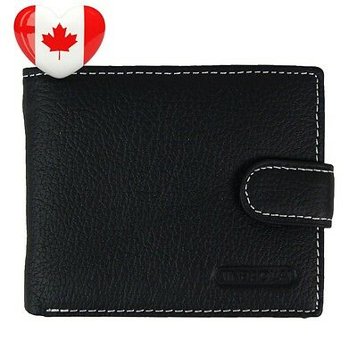 Mens Genuine Leather Purse Bi fold Wallet Credit Card Holder with Id Window...