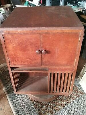 Unusual arts and craft revolving bookcase maple retro vintage art deco timber