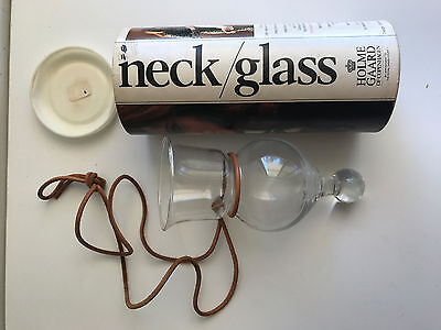 holmegaard denmark neck glass in original box with leather strap