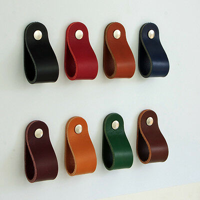 S3. Leather Drawer Cabinet Drawer Cupboard Handles Pulls Knobs Leather Pulls