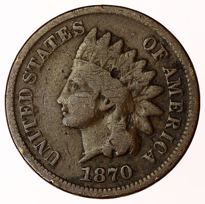 1870 Indian Head Cent USA ~ Scarce Date