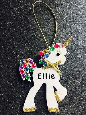 🦄Personalised Unicorn Plaque Girly Gift Tags Name Plaque Diamanté 🦄