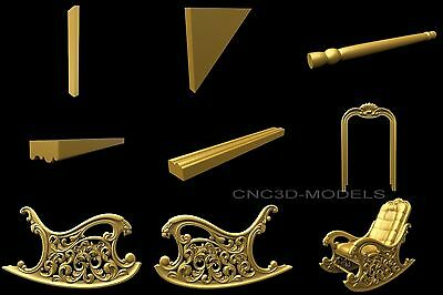 3D Model STL for CNC Router Carving Artcam Aspire Furniture Chair Rocking 8034