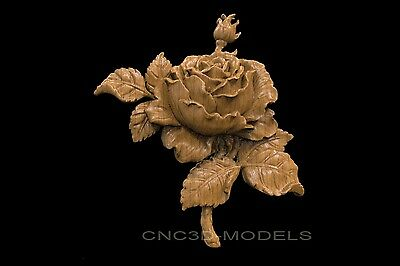 3D Model STL for CNC Router Engraver Carving Artcam Aspire Flowers Rose 8070