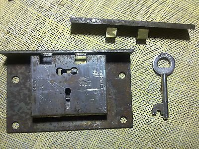 large brass and steel box lock, keep and working key,102 mm wide,  antique (A)