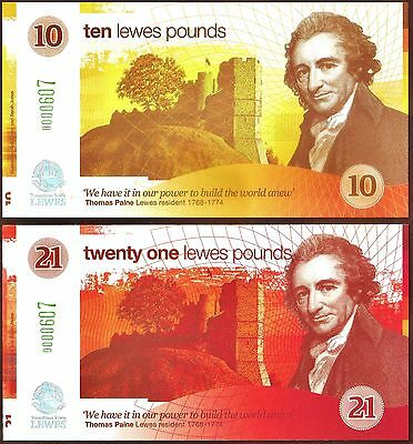 England/ Lewes -1st. series £10 & £21 Banknotes with matching serial numbers.UNC