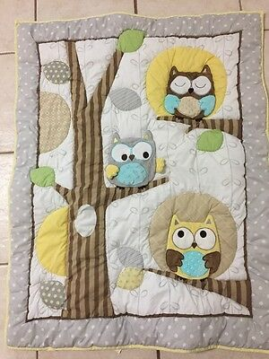 Carters Child of Mine Treetop Friends Crib Comforter Quilt Gray Owl VGUC