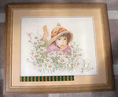 Completed Needlework Cross-stitch / Picture/ Portrait of Child