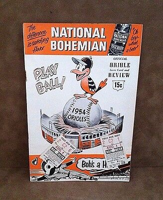 "1954 BALTIMORE ORIOLES 1st Year Program Scorecard ~ PHILADELPHIA A""s w/2 TICKETS"