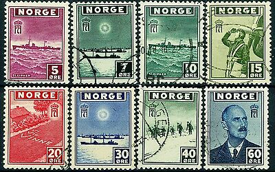 Norway London Issues of 1943 Complete Used Set of 8 Used Scott's 259 to 266
